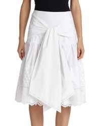 Suno Embroidered Tie-Front Skirt - Lyst