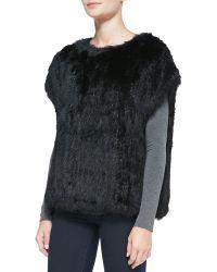 525 America - Cap-Sleeve Fur Sweatshirt - Lyst