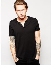 Asos T-shirt with Notch Neck - Lyst