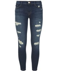 J Brand Distressed Skinny Cropped Jeans - Lyst