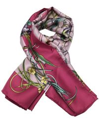 Gucci Lavender And Green 'Flora Infinity' Printed Silk Scarf - Lyst