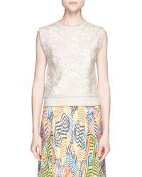 Alice + Olivia 'Beryl' Embroidered Front Sleeveless Sweatshirt beige - Lyst