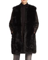 Vince | Long Leather & Fur Coat | Lyst