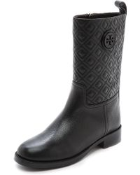 Tory Burch Marion Quilted Booties Black