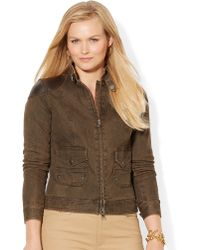 Lauren by Ralph Lauren Plus Leathertrim Denim Jacket - Lyst