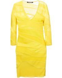 Roberto Cavalli V-Neck Fitted Knit Dress - Lyst