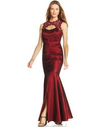 Xscape Sleeveless Glitter Lace Mermaid Gown - Lyst