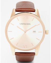 Unknown Rose Gold Dandy Leather Strap Watch - Metallic