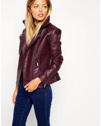 Asos Textured Biker Jacket - Lyst