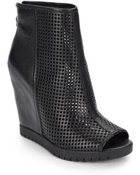 Ash Perforated Leather Open-toe Ankle Boots - Lyst