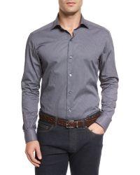 Ermenegildo Zegna Micro-print Long-sleeve Sport Shirt - Lyst