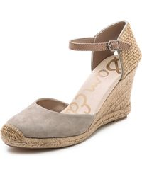 Sam Edelman Harmony Espadrille Wedges Moss Green - Grey