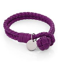 Bottega Veneta Woven Leather Double-Row Bracelet purple - Lyst