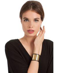 Trina Turk Leather Cuff With Gold Inlay - Black