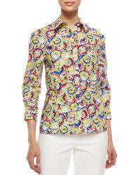 Carolina Herrera Three-Quarter-Sleeve Parasol-Print Button Blouse - Lyst