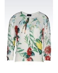 Armani Jeans Crew Neck Cotton Cardigan With Flower Print - Lyst