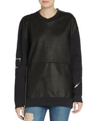 3.1 Phillip Lim Over Sized Leather Panel Sweatshirt - Lyst