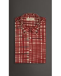 Burberry Slim Fit Abstract Check Cotton Voile Shirt - Lyst