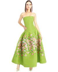 Oscar de la Renta Poppy Embroidered Silk Faille Tea-Length Gown - Lyst