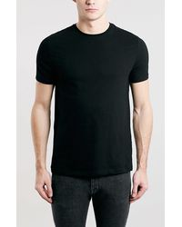 Topman Slim-Fit Crew-Neck T-Shirt black - Lyst