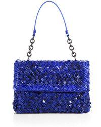 Bottega Veneta Snake-Embossed Woven Leather Flap Bag - Lyst