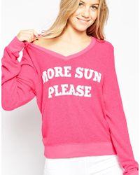 Wildfox | More Sun Please V-neck Sweater | Lyst