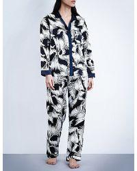 Dear Bowie - Avery Palm Silk-satin Pyjama Set - Lyst