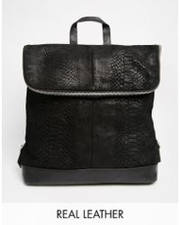 Asos Leather Embossed Backpack - Lyst