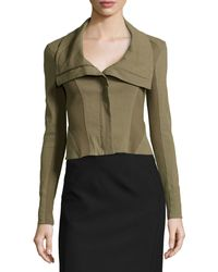 Donna Karan New York Zip-front Cropped Jacket W Jersey Insets - Lyst