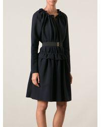 Lanvin Blue Belted Dress - Lyst
