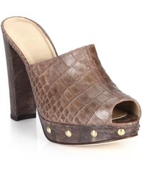 Stuart Weitzman Croc-Embossed Leather Mule Sandals - Lyst