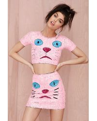Nasty Gal Di$Count Tra$H Pink Kitty Sequin Crop Top - Lyst