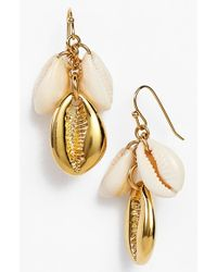Tory Burch 'Mikah' Cluster Drop Earrings - Natural/ Shiny Brass - Lyst