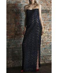 Katie Ermilio Wool Lace Strapless Column Gown blue - Lyst