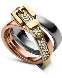 Michael Kors Tri-tone Glitz Buckle Ring - Lyst