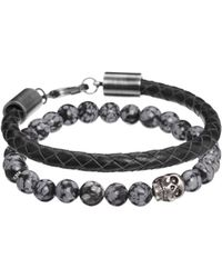 Simon Carter Leather And Semi Precious Bracelet Pack Exclusive To Asos - Lyst
