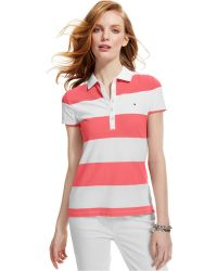 Tommy Hilfiger Short-Sleeve Stripe Rugby Polo pink - Lyst