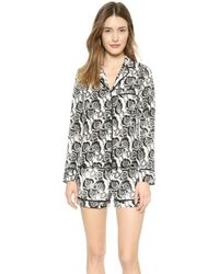 A.L.C. Pajama Short Set - Blackwhite Indian Floral - Lyst