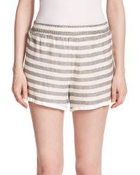 Alice + Olivia Striped Stretch Knit Shorts gray - Lyst