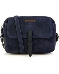 Tomas Maier Bi-colour Suede And Leather Cross-body Bag - Blue