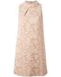 Saint Laurent Floral Lace Shift Dress - Lyst