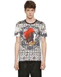 Dolce & Gabbana Slim Fit Bull Printed Cotton T-Shirt - Lyst