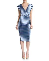Nicole Miller Artelier Striped Jersey V-Neck Dress - Blue