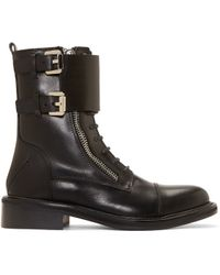 CoSTUME NATIONAL - Black Leather Monk Strap Combat Boots - Lyst