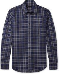 Alexander McQueen Frayed Plaid Cotton Shirt - Lyst