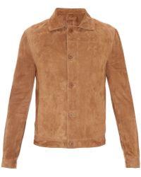 Bottega Veneta Point-collar Suede Jacket - Brown