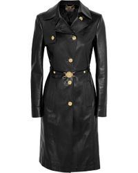 Versace Leather Trench Coat - Lyst