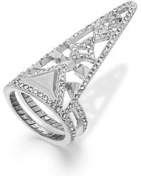 House Of Harlow Silver-tone Crystal Triangle Finger Ring - Lyst