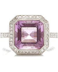 Gioia Amethyst And Diamonds Ring - Purple