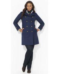 Lauren by Ralph Lauren Wool Blend Military Pea Coat - Lyst